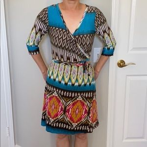 Dresses & Skirts - Multicolored Tribal Print Faux Wrap Dress
